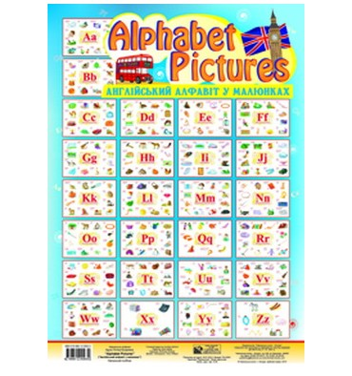 Англійський алфавіт в малюнках і таблицях Будна Т. Alphabet Pictures Комплект таблиць